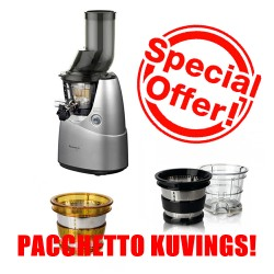 KUVINGS WHOLE SLOW JUICER B6000 SILVER + KIT SMOOTHIE & ICE CREAM + FILTRO A MAGLIA LARGA